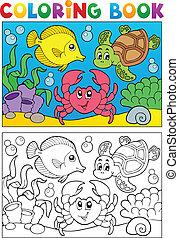 5, coloração, animais, livro, marinho