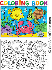 5, coloration, animaux, livre, marin