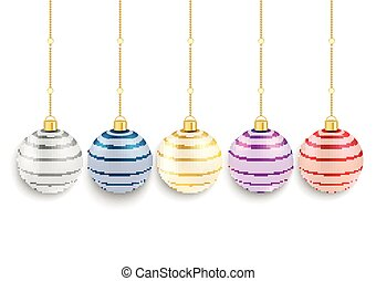 5 Colored Striped Christmas Baubles