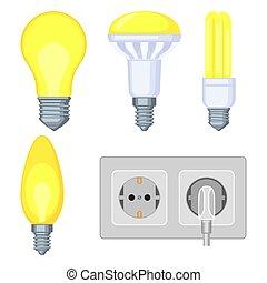 5 colorful cartoon electric elements set.