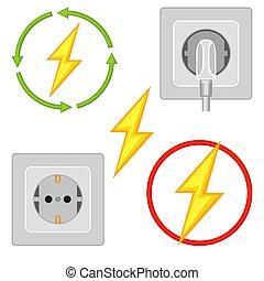 5 colorful cartoon electric elements set