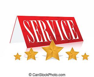 5, concepto, estrella, ilustración, servicio