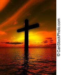 5, croix, paysage, saint