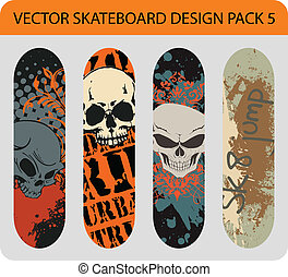 5, design, skateboard, satz