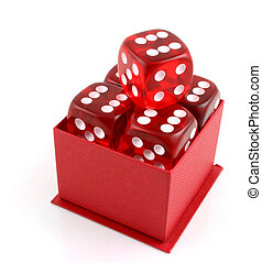 5 Dice in a Box - 5 Dice in a red box all showing sixes