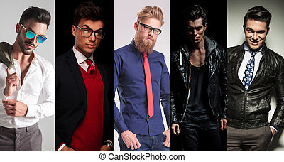 5 different men posing in studio