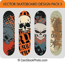 5, disegno, skateboard, pacco