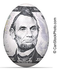 5 dollar banknote in shape of egg.
