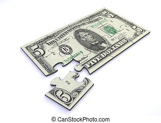 5 Dollar Note Puzzle - five dollar note as a puzzle - one...