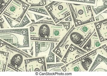 5 Dollar Notes Texture - 5 Dollar notes background texture