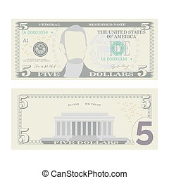 5 Dollars Banknote Vector. Cartoon US Currency. Two Sides Of...