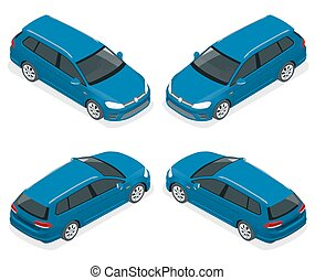 5-door Hatchback car isolated. Vector isometric icons set. Template on white background. The ability to easily change the color. Urban transport.