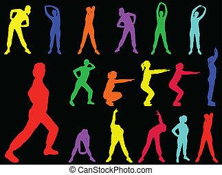 5, dziewczyna, wektor, -, aerobics