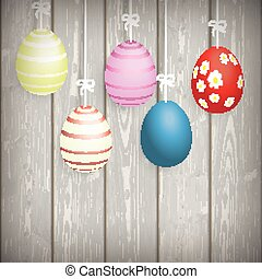 5 Easter Eggs Ribbon Wooden Wall