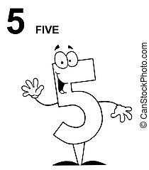 5, esboçado, cinco, número