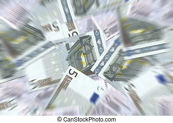 5 Euro Notes Texture Radial Blur
