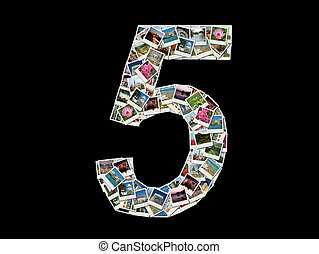 """""""5"""" figure made like collag - Shape of """"5"""" figure made like..."""