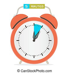 5 - Five Minutes Stop Watch - Alarm Clock Vector Illustration