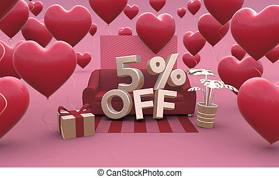 5 Five percent off - Valentines Day Sale 3D illustration.