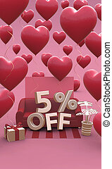 5 five percent off - Valentines Day Sale 3D illustration. Vertical banner with copy space.