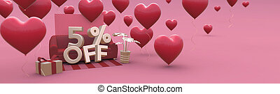 5 Five percent off - Valentines Day Sale horizontal 3D-banner with copy space.