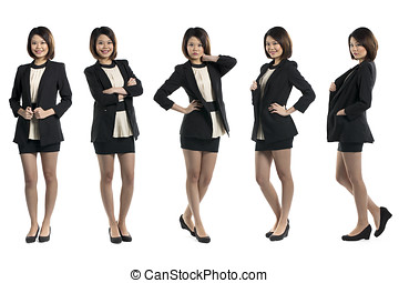 5 full length portraits of the same Chinese woman.