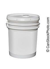5 gallon plastic bucket, isolated - white plastic 5 gallon...