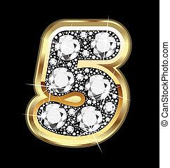 5, getal, goud, en, diamant, bling
