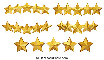 5 gold stars - A set of stars, useful graphic to use on ...