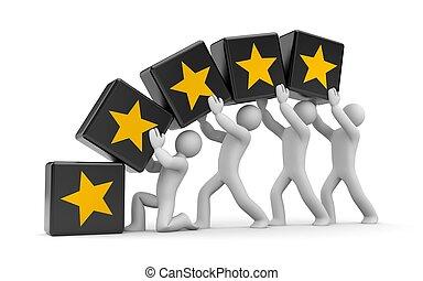 5 gold stars. Teamwork metaphor - Communication concept....