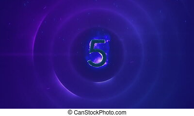 5 in flames on blue background