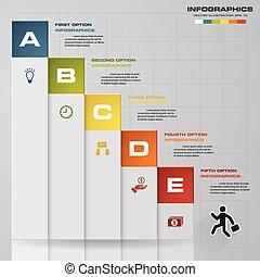 5, infographic, ステップ, タイムライン
