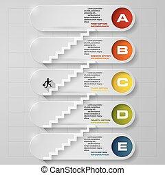 5, infographic, schritte, timeline