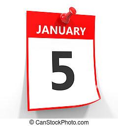 5 january calendar sheet with red pin. - 5 january calendar...
