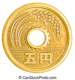 5 japanese yens coin isolated on white background