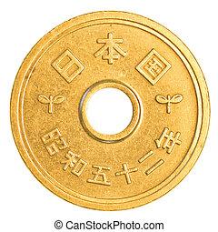 5, japansk, yen, mynt