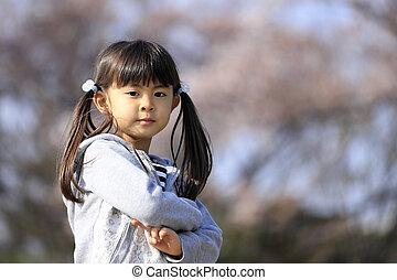 (5, japonaise, fleurs, girl, cerise, années, old)