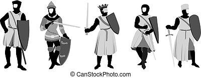 5 Knights vector illustration