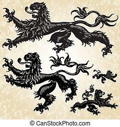 5, löwe, vektor, gotische , satz