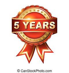 5, lata, rocznica, złoty, etykieta