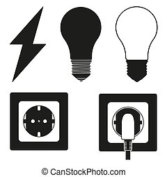 5 line art black and white electric elements set