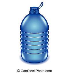 5, liter, プラスチック, 水のビン, 隔離された, 白, ベクトル