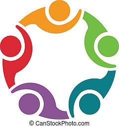 5, logo, équipe, congress., groupe, concept
