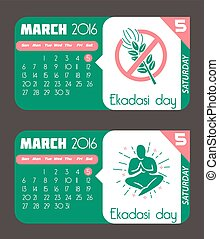 Calendar for each day on March 5. Holiday - Ekadashi day. In the style of a modern retro