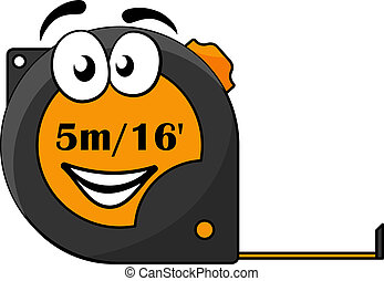 Vector cartoon illustration of a 5 metre or 16 foot long retractable tape measure with a cute smiley face isolated on white