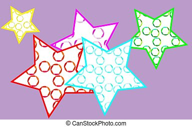5 multicolored, bright, motley, beautiful stars painted in a pouring from multi-colored, abstract camera diaphragms on a purple background. Vector illustration.