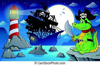 5, notte, pirata, scenario