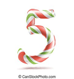 5, Number Five Vector. 3D Number Sign. Figure 5 In Christmas Colours. Red, White, Green Striped. Classic Xmas Mint Hard Candy Cane. New Year Design. Isolated On White Illustration