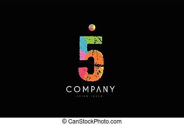 5 number grunge color rainbow numeral digit logo