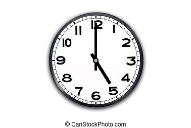 a black and white clock showing hour